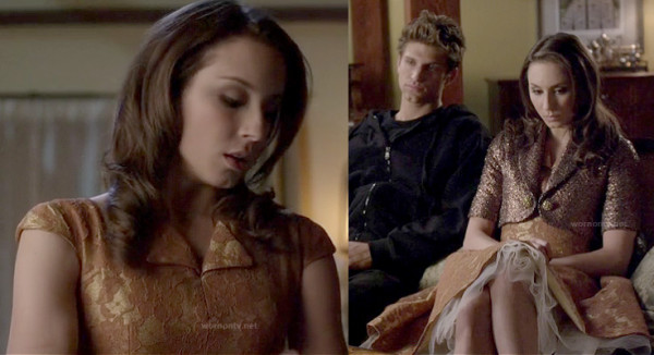 Spencer's peach gold dress on PLL finale