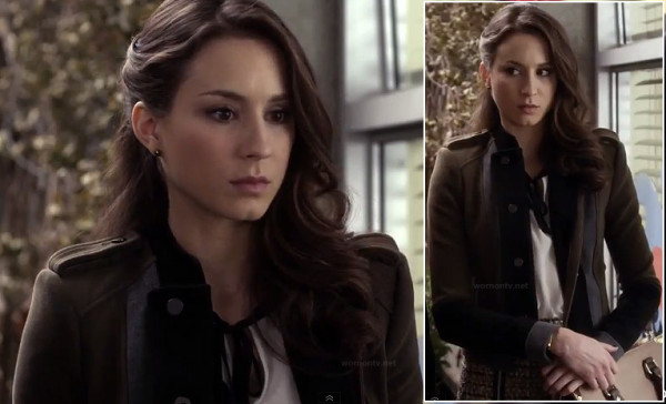 Spencer's olive green and black blazer on PLL