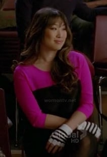 Tina's pink and black colorblock dress and striped fingerless gloves on Glee
