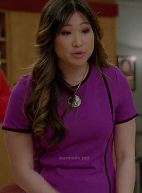 Tina's purple shift dress with black trim on Glee