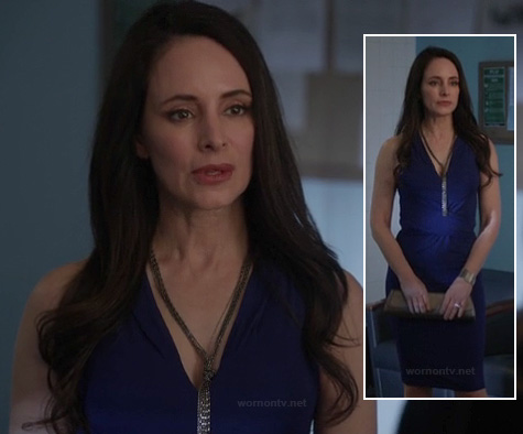 Victoria's blue dress and tassle knot necklace on Revenge