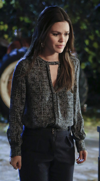 Zoe Harts black and white chest cutout blouse on Hart of Dixie