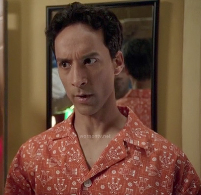 Abed's orange robot print pajamas on Community