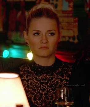 Alex's black lace turtleneck top on Happy Endings