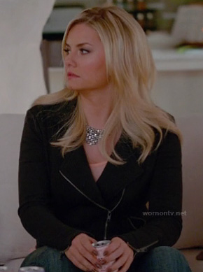 Alex's black moto jacket on Happy Endings