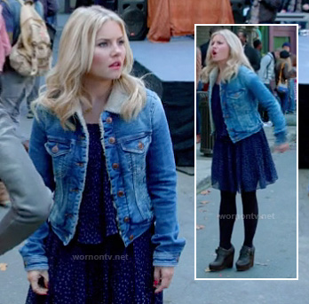 Alex's blue printed dress, denim shearling jacket and black wedge booties on Happy Endings