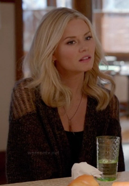 Alex's brown sweater with shoulder cutouts on Happy Endings