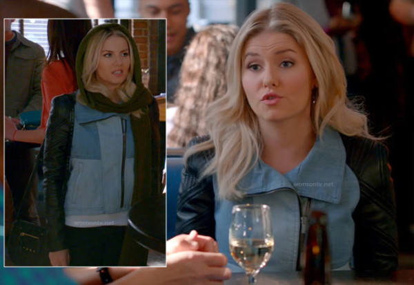 Alex's denim patchwork jacket on Happy Endings