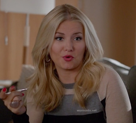 Alex's grey/black/cream colorblock sweater on Happy Endings