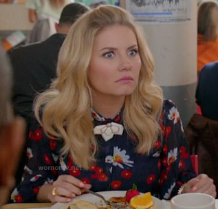 Alex's navy poppy and daisy print dress on Happy Endings