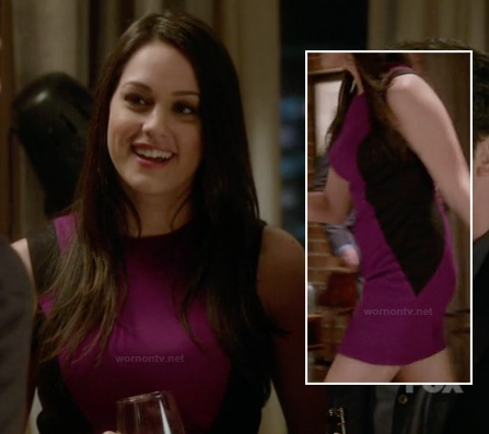 Alex's magenta dress with black side panels on The Mindy Project