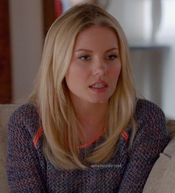 Alex's purple knit sweater with neon orange trim on Happy Endings