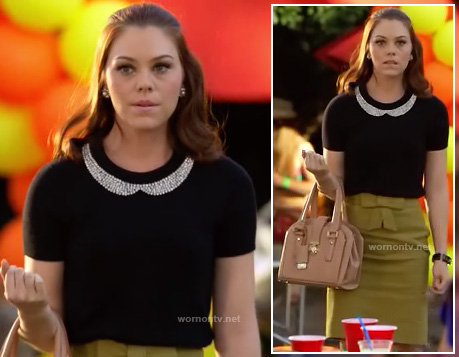 AnnaBeth's black sweater with jewel collar and bow pencil skirt on Hart of Dixie
