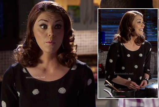 AnnaBeth's black and white scribble polka dot dress on Hart of Dixie