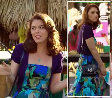 AnnaBeth's blue and green strapless floral dress on Hart of Dixie