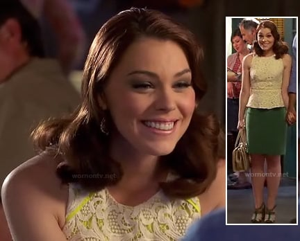 AnnaBeth's neon lace peplum top on Hart of Dixie