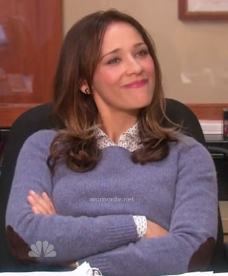 Ann's blue sweater with brown elbow patches on Parks and Rec