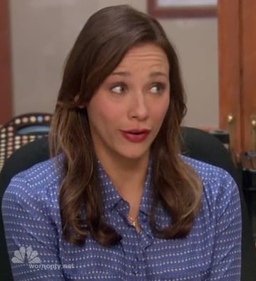 Ann's blue polka dot blouse on Parks and Rec