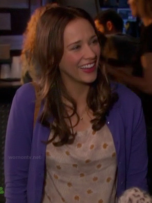 Ann's brown flower print blouse on Parks and Recreation