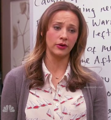 Ann's white sail boat print blouse on Parks & Recreation