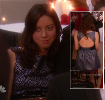 April's blue spot print dress at Leslie's wedding on Parks & Recreation