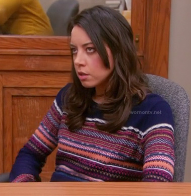 April's navy blue sweater with patterned stripes on Parks & Recreation