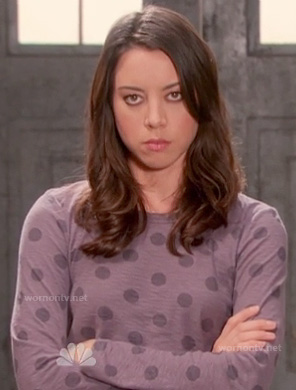April's purple polka dot long sleeved top on Parks and Rec