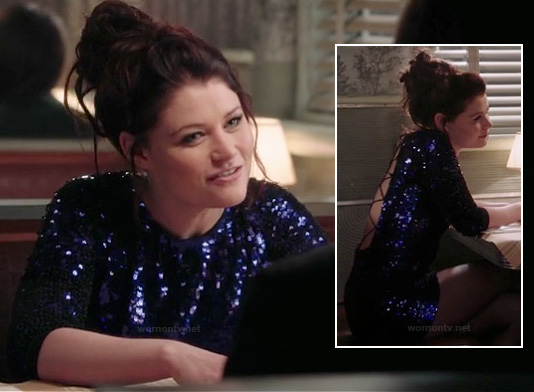 Belle's purple sequinned dress on OUAT