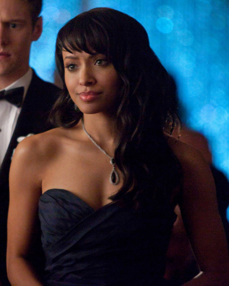 Bonnie's blue strapless gown at the prom on The Vampire Diaries