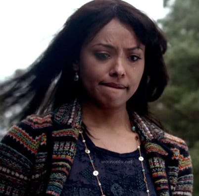 Bonnie's multi-colored fair isle knit jacket on The Vampire Diaries