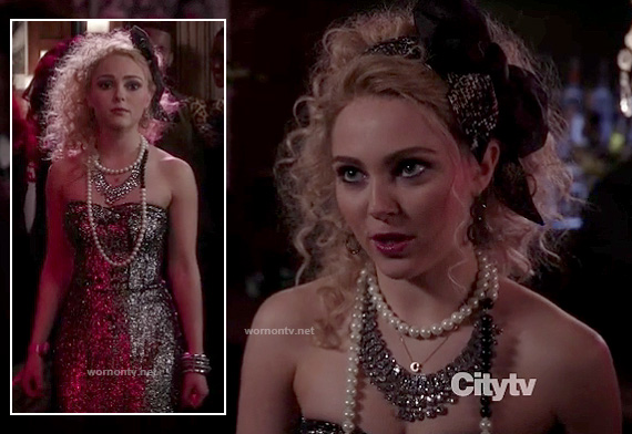 Carrie's strapless party dress on The Carrie Diaries