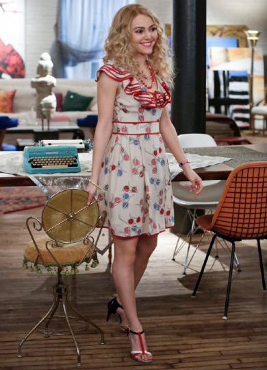Carrie's red printed ruffle dress on The Carrie Diaries