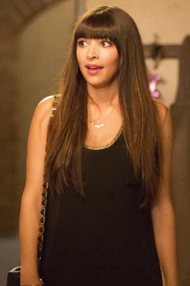Cece's black tank top with gold trim on New Girl