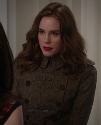 Charlotte's brown lace trench coat on Revenge