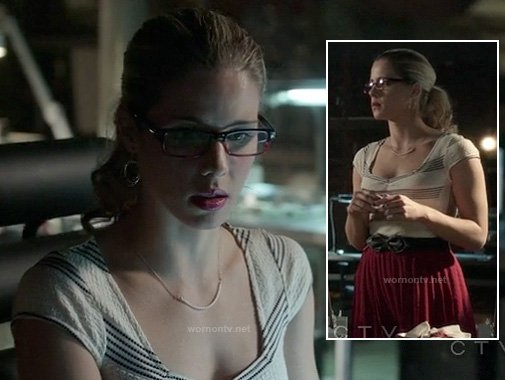 Felicity's white striped textured top with red skirt and bow belt on Arrow