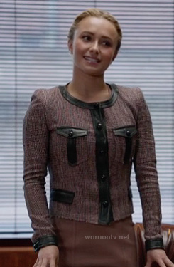 Juliette's tweed jacket with black leather trim on Nashville