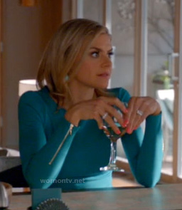 Jane's blue long sleeved dress with zips on Happy Endings