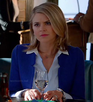 Jane's cobalt blue jacket on Happy Endings