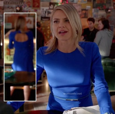 Jane's blue long sleeved dress with open back on Happy Endings