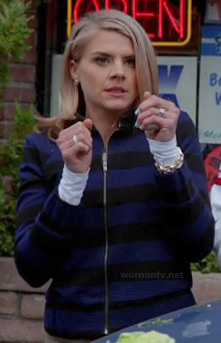 Jane's blue striped sweater on Happy Endings