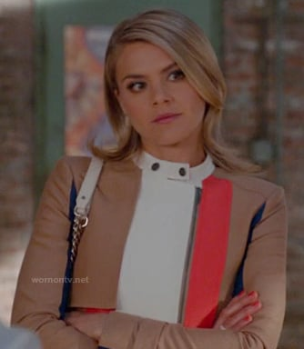 Jane's tan brown, orange, blue and white leather jacket on Happy Endings