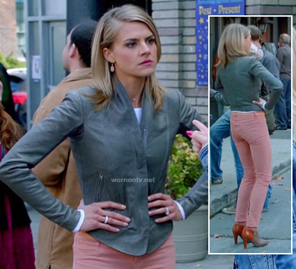 Jane's grey leather jacket with pink jeans and booties on Happy Endings