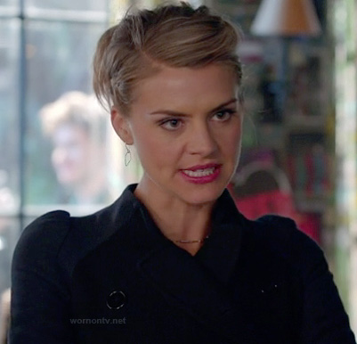Jane's navy and black jacket on Happy Endings