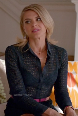 Jane's navy blue lace blouse on Happy Endings
