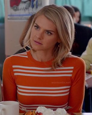 Jane's orange and white striped top on Happy Endings