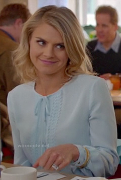 Jane's pastel blue blouse with bow on Happy Endings