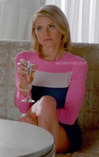 Jane's pink and navy color block dress on Happy Endings