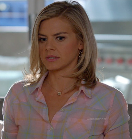 Jane's pastel pink plaid shirt on Happy Endings