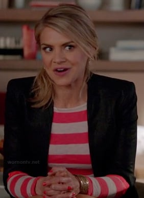 Jane's pink and white striped long sleeve tee and black blazer on Happy Endings