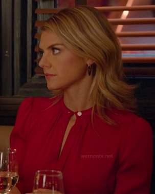 Jane's red long sleeved keyhole blouse on Happy Endings
